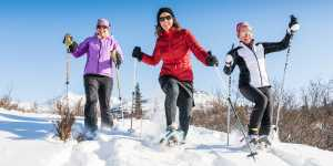 Snowshoeing on trails of the Anchorage Hillside