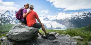Couple viewing Portage Glacier from Portage Pass Trail