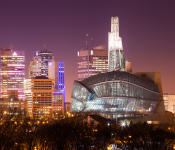 Nights view of The Canadian Museum for Human Rights