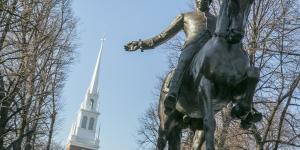 Paul Revere and the Old North Church winter