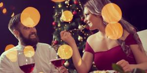 Couple dining wine holiday