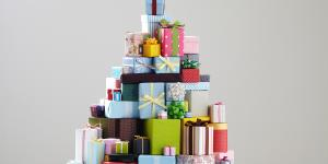 Stock photo of presents stacked up