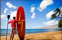 Paddleboarder on Maui beach