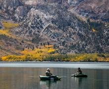 Convict Lake fisherman with Fall Color