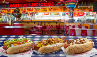 Hot dog trio from Portillo's Hot Dogs Chicago