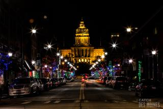 Historic East Village with Iowa State Capitol during the winter