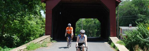 Covered Bridge with Bikers