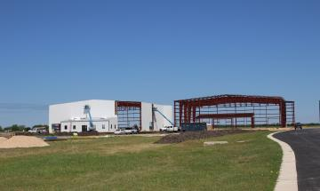 Construction progress on two new airport hangars 10K sq. ft. each