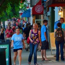 Walking on Franklin Street in Downtown Chapel Hill
