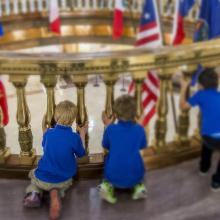 Can we climb the big stairs? Kids at the Capitol