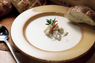 Chef Kim Kringlie of Dakota's Lump Crabmeat & Brie Soup