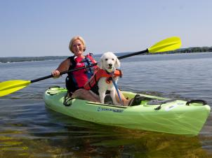 Kayaker with dog