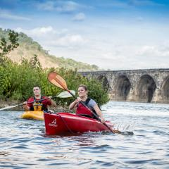 Couple Kayaking on the Susquehanna River near Harrisburg, PA