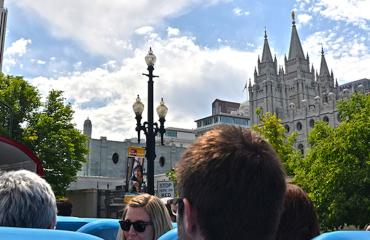 US Bus tour in downtown Salt Lake