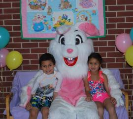 Easter bunny photo at Splash Island (credit: Plainfield Parks & Recreation Facebook page)