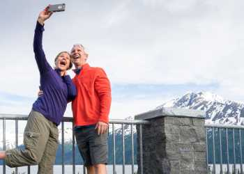 A couple snaps a selfie at Bird Point south of Anchorage.