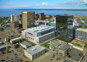 Dena'ina Center overhead aerial view