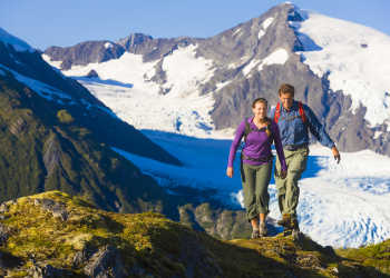 Hiking near glaciers in Anchorage