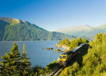 Alaska Railroad train on Turnagain Arm