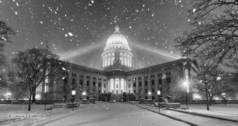 Capitol Snow at Night B&W