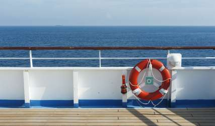 Cruise Ship Deck with Life Preserver