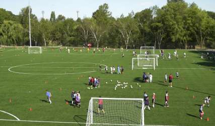 Starfire Soccer fields with kids running drills