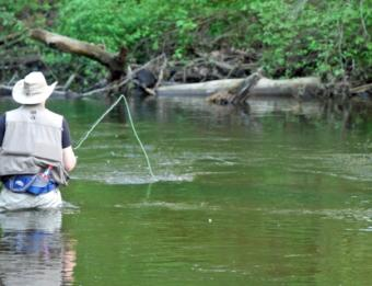 An angler fishes the Rogue River