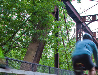 Bikers on Grand Rapids Bridge