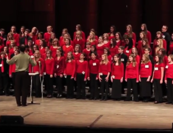 Students perform at DeVos Hall at the Michigan Music Conference