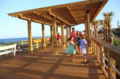 Family on boardwalk