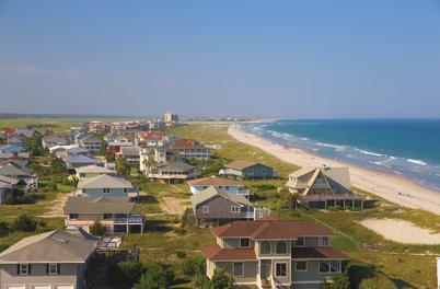aerial view of beach homes