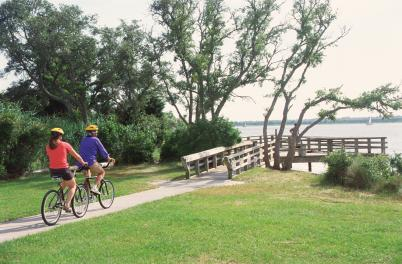 Couple biking at CB State Park
