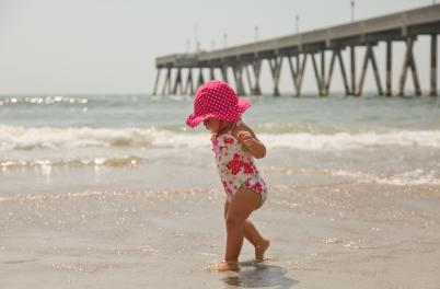 Baby in water at Wrightsville Beach