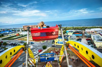 On top of the world at the seaside amusement rides