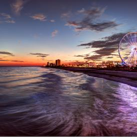 Myrtle Beach at dusk with SkyWheel