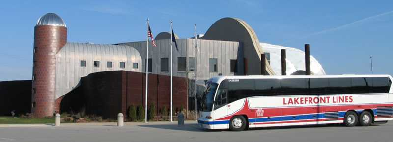 Group Tour Bus at the Indiana Welcome Center