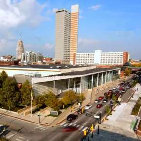 Aerial view of Grand Wayne Convention Center