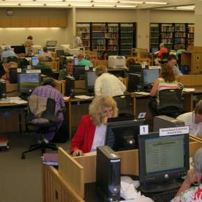 Visitors researching their ancestory in The Genealogy Center in Fort Wayne.