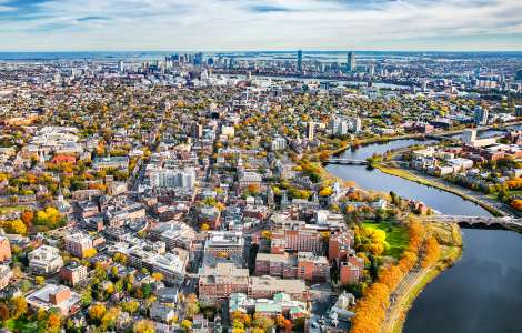 Boston Aerial from Harvard Square