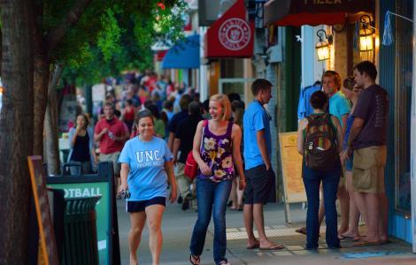 Walking on Franklin Street in Downtown Chapel Hill