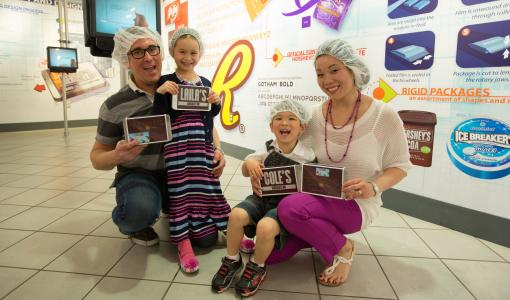 Family Making Their Own Chocolate Bar at Hershey's Chocolate World