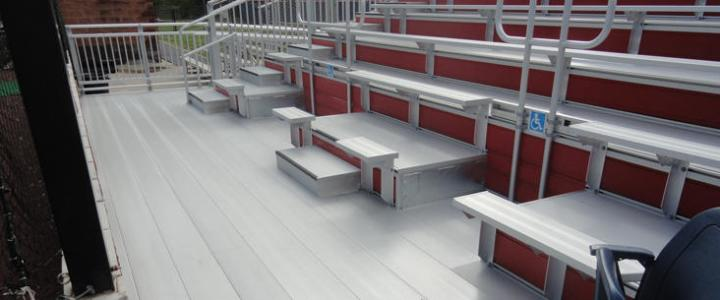 Aluminum coated bleachers