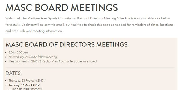 Meeting Schedule: MASC Board of Directors