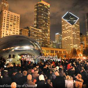Caroling at Cloud Gate