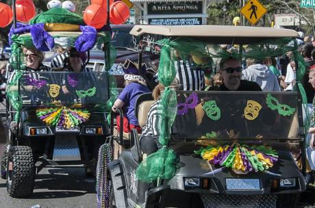 The wild and wacky Krewe of Push Mow Mardi Gras parade in Abita Springs