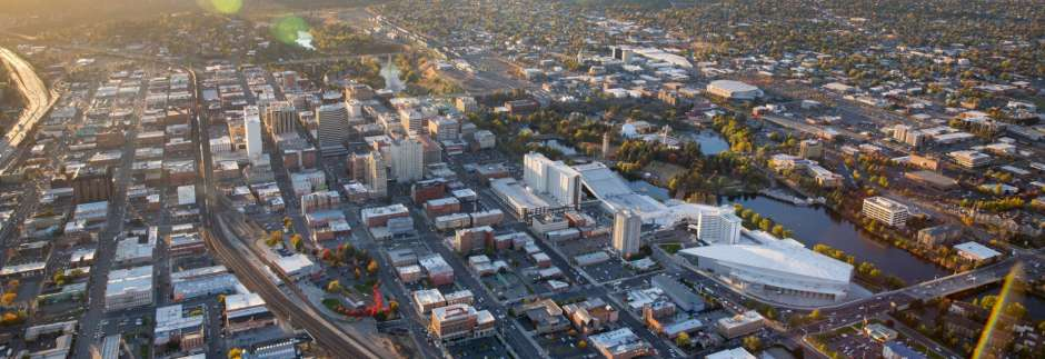 Aerial Downtown Spokane