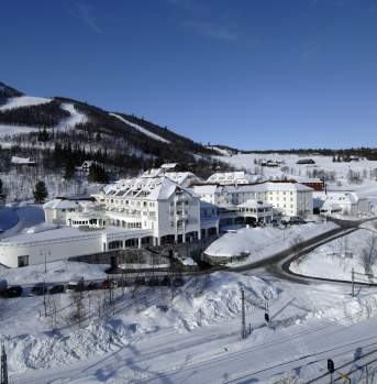 Dr. Holms hotel at the bootom of the ski slopes in Geilo