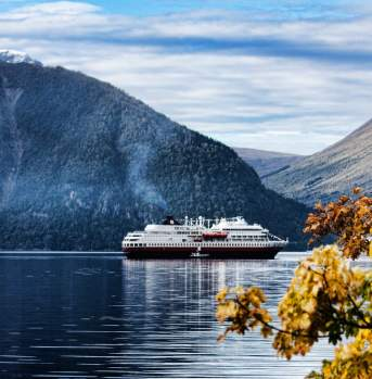 Autumn leaves and the hurtigruten steamer in the fjord