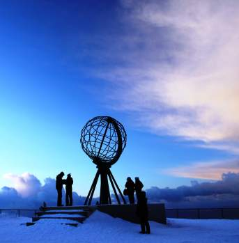 The North Cape in winter, Finnmark, Norway