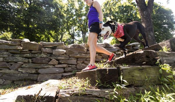 Girl and Dog Hiking
